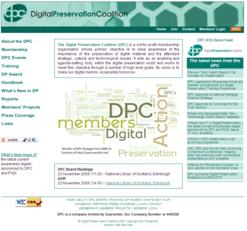 Digital Preservation Coalition website