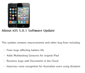 Apple iOS 5.0.1 update screenshot