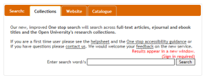 Tabbed search box screenshot